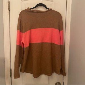 Old Navy Mock Neck Sweater Tan w/Pink Stripe